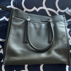 Coach leather forest green tote